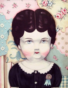 Image of Antique porcelain doll and vintage wallpaper inspired Charlotte print M