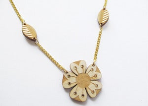 Image of Wood Flower Necklace