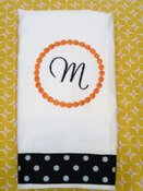 Image of Circle Initial Embroidered Burp Cloth