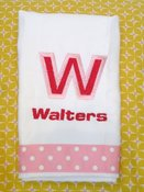 Image of Pink Double Letter Embroidered Burp Cloth