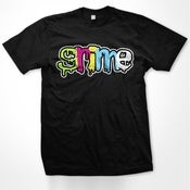 Image of Colour Grime Logo On Black T Shirt - Men and Women's