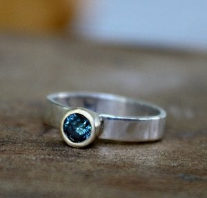Image of Sterling Silver and 14k Gold Ring with Blue Diamond