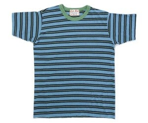 Image of Melange Yarn Dye Heather Aqua / Indigo Surf Punk Tee