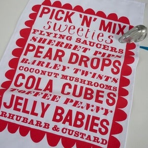 Image of Pick 'n' Mix tea towel - red