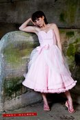 Image of Double Layer Pink Prom Dress