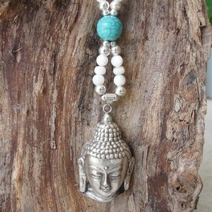 Image of Boho Buddha Necklace - Mother of Pearl Turquoise