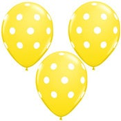 "Image of 11"" Yellow with White Polka Dot Balloons"