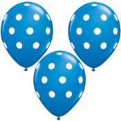 "Image of 11"" Dark Blue with White Polka Dot Balloons"