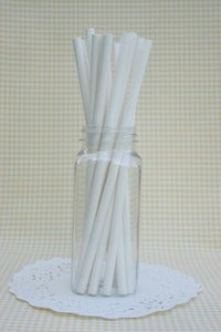 Image of 25 White Paper Straws