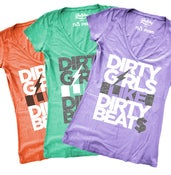 Image of DIRTY GIRLS LIKE DIRTY BEATS Women's V-Neck in Peapod/Coral/Lilac
