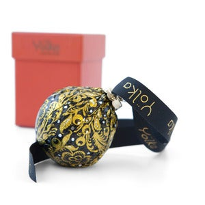 Image of Single Black Foil Ornament <br>in a Red Gift Box