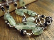 Image of Ivy Mist Long Necklace | Green Tourmalated Quartz, Black Onyx, Sterling