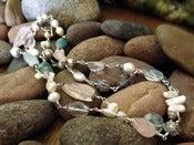 Image of Gemstone Oasis Long Necklace | Rose Quartz, Aquamarine, Freshwater Pearls