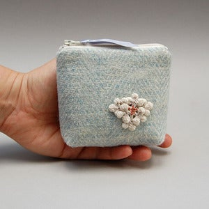 Image of Harris tweed coin purse with lichen motif