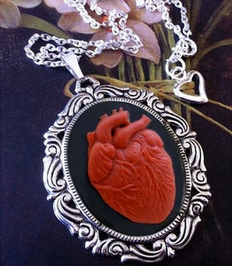 Image of Red Anatomical Heart Cameo Necklace