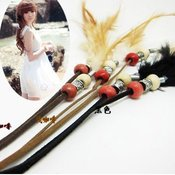 Image of (3) Bohemian Long Leather Strands w/Feathers &amp; beads