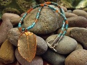 Image of Southwest Dusk Turquoise Necklace | Copperplated Leaf, Turquoise, Carnelian