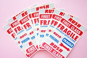 Image of Vintage mail stickers