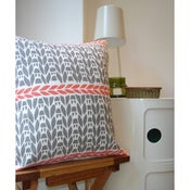 Image of Justine Ellis Knitting Pattern Cushion Cover - coral/grey
