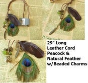 Image of Peacock w/ Metal Charms Leather Necklace