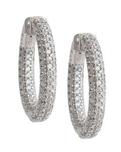 Image of Kara Ackerman <i>Talulah <i/> Small Vermeil Micro Pave Set Hoops in White