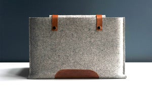 Image of MacBook Pro Sleeve - Gray Wool Felt and Brown Leather