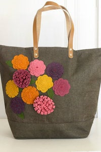 Image of Mulberry felt embellished jute bag