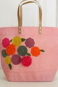 Image of Cherry Tree Fall embellished felt jute bag