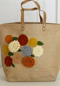 Image of Maple Tree felt embellished jute bag