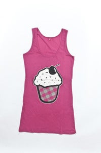 Image of Cupcake Vest Dress - Girls Raspberry
