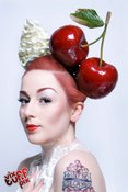 Image of Giant Red Cherry Ascot Burlesque Bride Headband Big Huge Cherries Avant Garde Fascinator