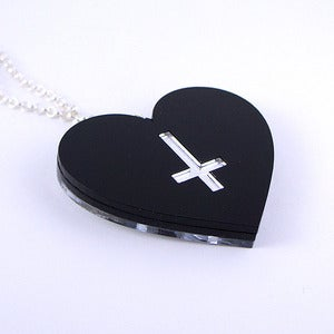 Image of Double-Sided Cross Heart Necklace