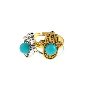 Image of Evil Eye. Hamsa Hand Ring