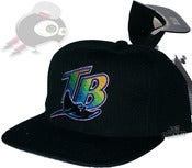 Image of Vintage Tampa Bay Devil Rays Black Retro Snapback Cap Hat