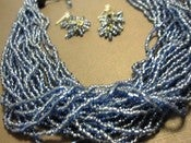 Image of Periwinkle Blue Earring & 21 Strand Necklace Set - Vintage look