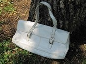 Image of Kenneth Cole Reaction White Faux Leather Purse Retro 1960's Style