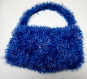 Image of 80s Disco Blue Furry Sling Sac Purse