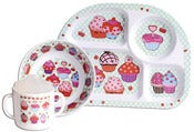Image of CLEARANCE 50% OFF-Baby Melamine Set/Cupcakes-WAS $29.94 NOW ONLY