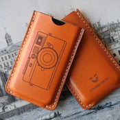 Image of iPhone Leather Case with back pocket - Camera