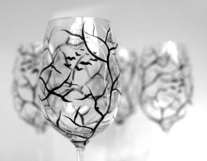 Image of Spooky Black and White Halloween Trees--Hand Painted Wine Glasses