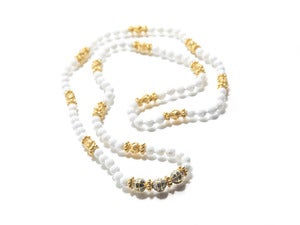 Image of Necklace: White Shell w/ Gold & Raw Diamonds (Limited Edition)