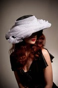 Image of Black Hat With Polka Dot Draping