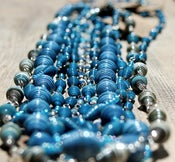 Image of Large Funky Paper Bead Necklaces ~ Blue