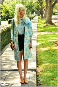 Image of '60s Blue Floral Coat