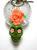 Image of Big Daddy EXTRA LARGE Lime Green Sugar Skull & Peach Rose Key Chain/Pendant