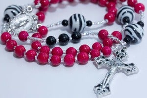 Image of Hot Pink and Zebra Rosary