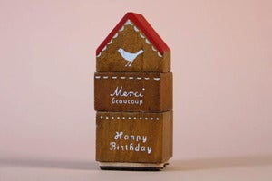 Image of Wooden house rubber stamp set
