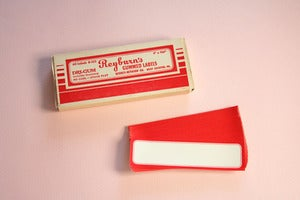 Image of Reyburns vintage red bordered labels 