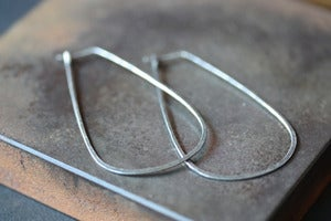 Image of Large Oxidized Sterling Silver Horseshoe Hoops