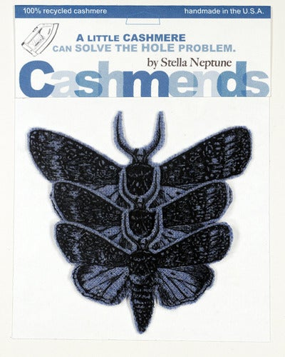Image of Iron-on Cashmere Moths - Light Heather Blue